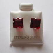 7mm square Princess cut Garnet Cubic Zirconia Sterling silver Stud earrings